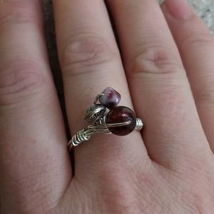 Jewelry - Silver wire wrapped deep red ring